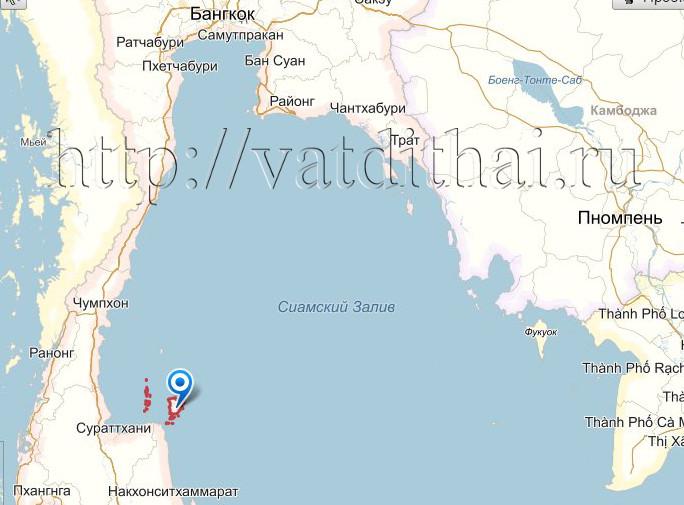 Остров Самуи на карте Тайланда